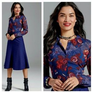 CAbi blouse • navy with paisley red and flowers